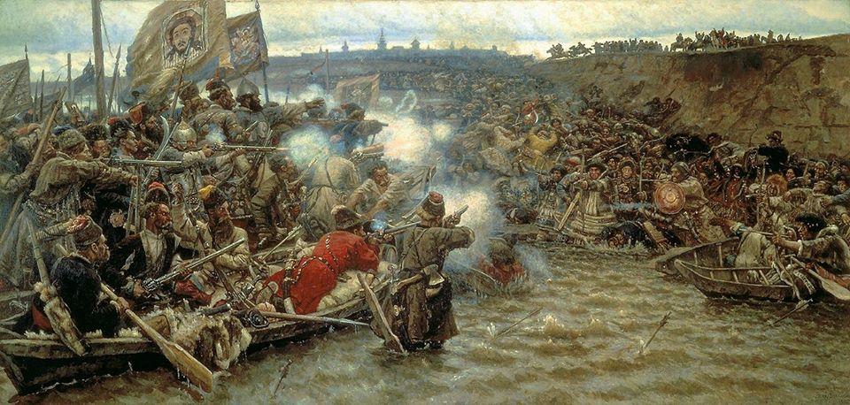 Yermak xâm lược vùng Siberia thế kỷ 16. Tranh của Vasily Surikov