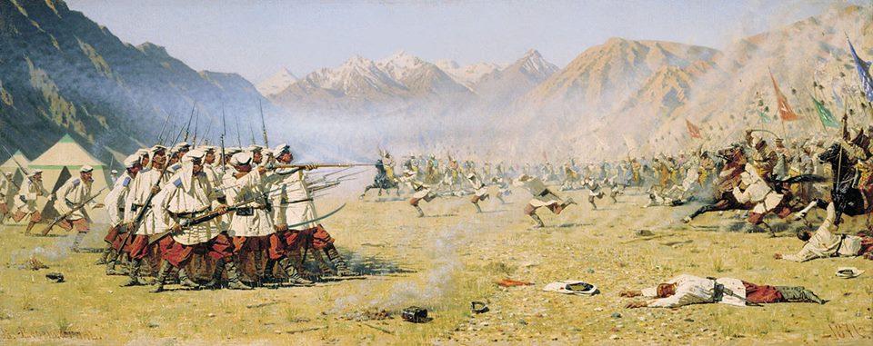 Quân Nga bị nhân dân vùng Trung Á đánh cho tơi bời cuối thế kỷ 19. Tranh của Vasily Vereschagin