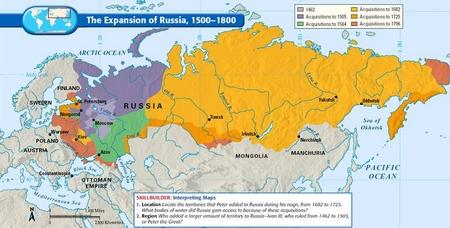 Bản đồ mô tả sự bành trướng xâm lược của Nga từ thời Muscovy cho tới năm 1800