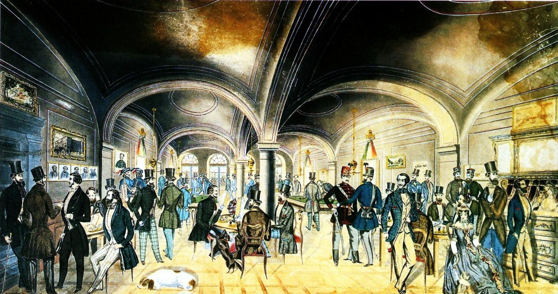 Tiệm cà phê Pilvax, đại bản doanh của cuộc cách mạng 1848 - Tranh màu của Preiszler József
