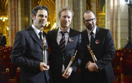 Röhrig Géza, Nemes Jeles László và Erdély Mátyás trong lễ trao Giải Kossuth tại Nhà Quốc hội Hungary - Ành: Illyés Tibor (MTI)