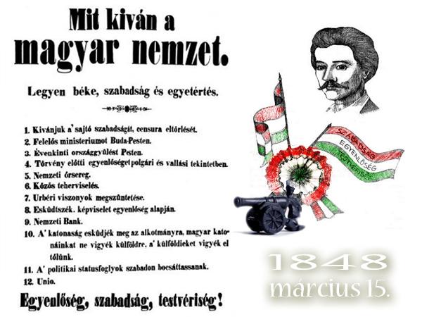 """Bản """"Yêu sách 12 điểm"""", sản phẩm đầu tiên của nền báo chí tự do Hungary"""