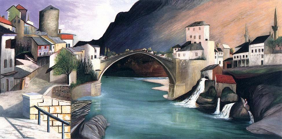Stari Most dưới nét vẽ của danh họa Hungary Csontváry Kosztka Tivadar (1903)