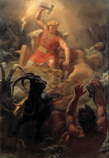 """Vị thần sấm sét, giông bão và sức mạnh trong thần thoại Bắc Âu, trong trận chiến với những người khổng lồ - Họa phẩm """"Tors strid med jättarne"""" của danh họa Thụy Điển Mårten Eskil Winge"""
