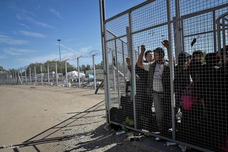 Người xin tỵ nạn chờ đợi trước hàng rào sắt, tại cửa vào của khu vực chuyển tiếp ở vùng Röszke (biên giới Serbia - Hungary) - Ảnh: Huszti István (index.hu)