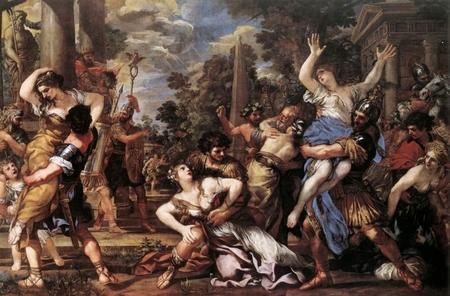"""""""Ratto delle Sabine"""", họa sĩ Pietro da Cortona (1596-1669), tranh sơn dầu, 280,5 x 426 cm, ở Pinacoteca Capitolina, Rome - Ảnh: wiki"""