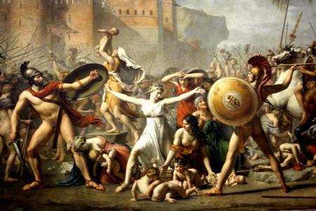 """""""L'intervention des Sabines"""", họa sĩ Jacques-Louis David, 1799, tranh sơn dầu, 385x 522 cm, Bảo tàng viện Louvres - Ảnh: wiki"""