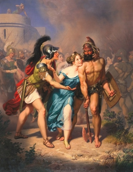"""""""The Roman and the Sabines"""" (142,6 x 112,4 cm), họa sĩ Charles Christian Nahl (1818-1878), lại nghĩ """"biết đâu có cô vui thích?"""", ở Bảo tàng Nghệ thuật Crocker, Sacramento, California - Ảnh: wiki"""
