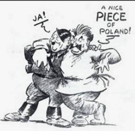 """Tranh biếm họa đương thời, lên án việc Stalin và Hitler """"chung tay"""" xâm lược Ba Lan, làm nổ ra Chiến tranh Thế giới lần thứ hai - Ảnh tư liệu"""