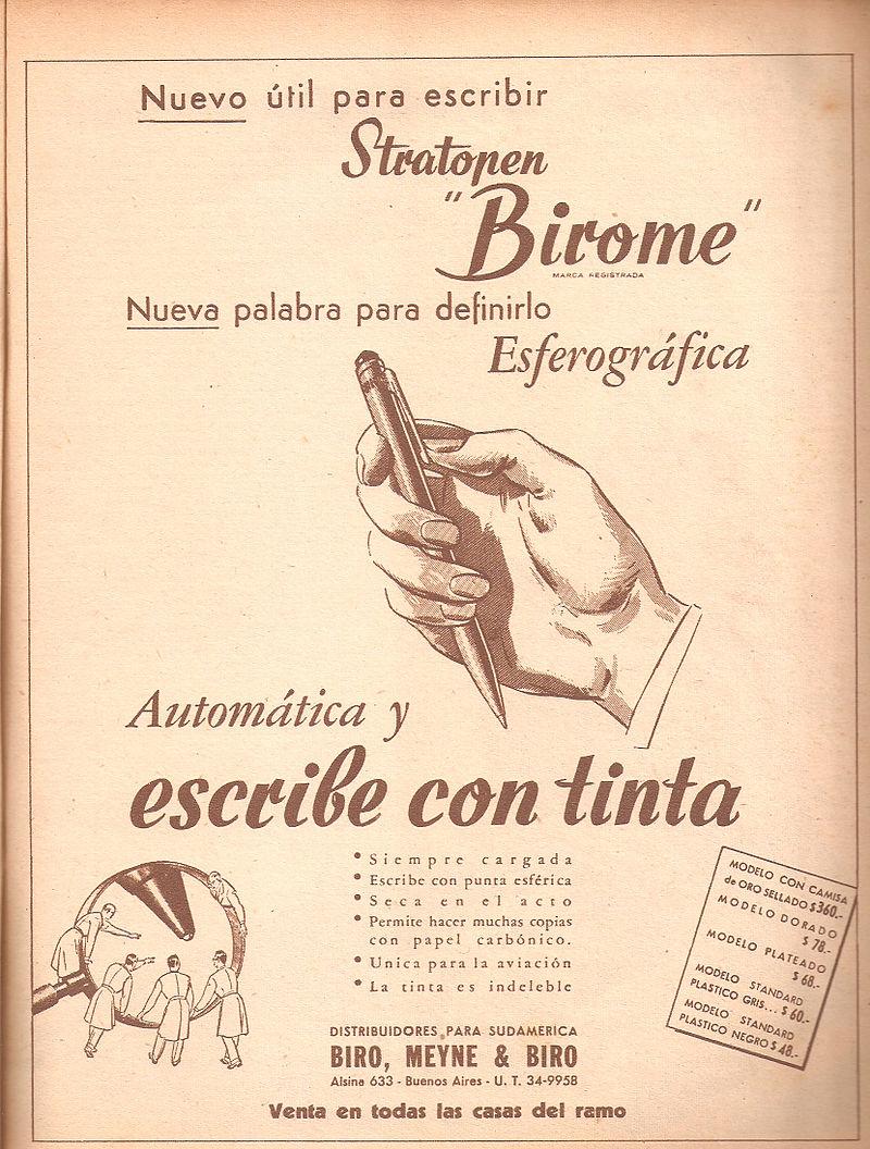 Quảng cáo bút bi trên báo Argentina (năm 1945) - Ảnh tư liệu