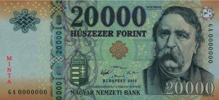 Sau 31-12-2016, chỉ có loại tiền mới 20.000 Forint này được sử dụng