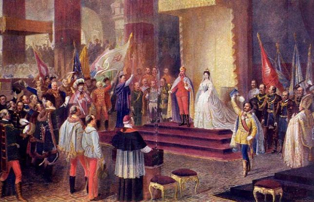 Lễ đăng quang của Franz Joseph tại Nhà thờ Matyás (Thành Cổ Buda). Bên phải ảnh là cảnh tượng Bá tước Andrássy Gyula giơ tay chúc tụng vợ chồng Quân vương Hungary vừa đăng quang - Ảnh: Wikipedia