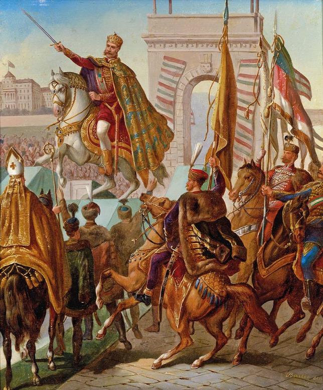 Khoảnh khắc thiêng liêng trong lễ đăng quang, khi Franz Joseph làm nghi thức chém bốn nhát kiếm (như một lời hứa sẽ bảo vệ đất nước Hungary) tại chân Cầu Xích (Budapest) - Ảnh: Wikipedia