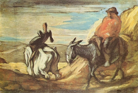 """""""Don Quijote và Sancho Panza"""" (1866 hoặc 1868), họa phẩm của Honoré Daumier"""