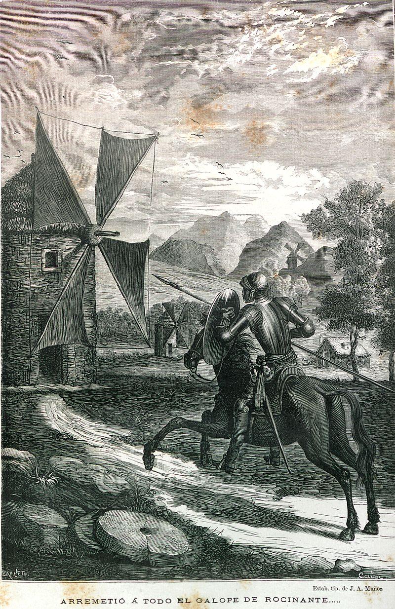 Don Quijote đại chiến với cối xay gió với chú chiến mã Rocinante (minh họa trong sách năm 1877)