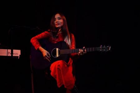 Mai Khôi trong buổi diễn tại Berlin (21-11-2016) - Ảnh: Hồ Phạm Huy Đôn