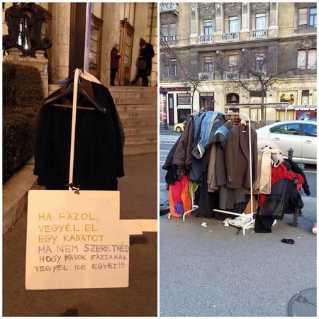 Phong trào MẮC ÁO TỰ DO được hưởng ứng trước Nhà hát Hài kịch (Vígszínház), trung tâm Budapest - Ảnh: Facebook