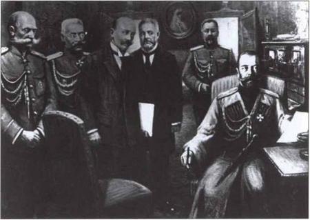 Nga hoàng Nikolai Đệ nhị (bên phải, ngoài cùng) thoái vị - Ảnh tư liệu