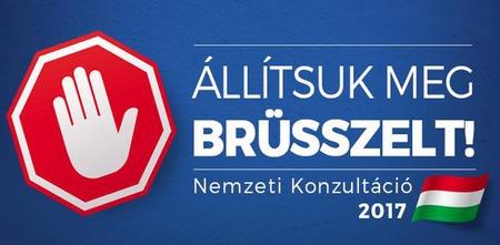 """""""Hãy chặn đứng Brussels!"""" - Ảnh: Facebook của Chính phủ Hungary"""