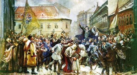 """Petőfi Sándor đọc """"Bài ca Dân tộc"""" thúc giục tinh thần dân chúng trong ngày 15-3-1848"""