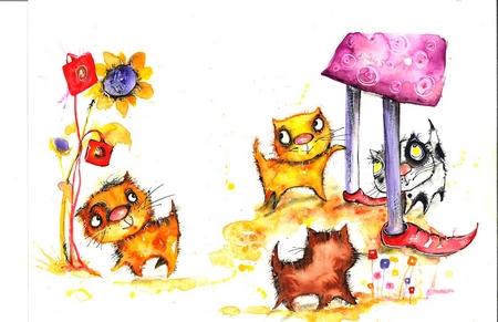 """Một minh họa trong cuốn """"Cô Penny và bốn mèo con"""", bản tiếng Việt"""