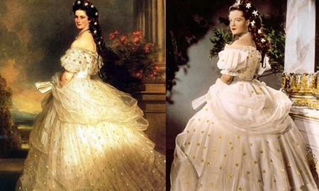 Hoàng hậu Elisabeth: ngoài đời (trái) và trên phim - Ảnh tư liệu