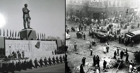 Bức tượng khổng lồ của nhà độc tài Stalin bị hạ bệ trong cuộc cách mạng 1956 - Ảnh tư liệu