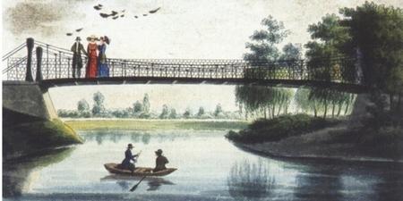 Nam thanh nữ tú trên cây cầu treo đầu tiên của Budapest - Tranh cổ