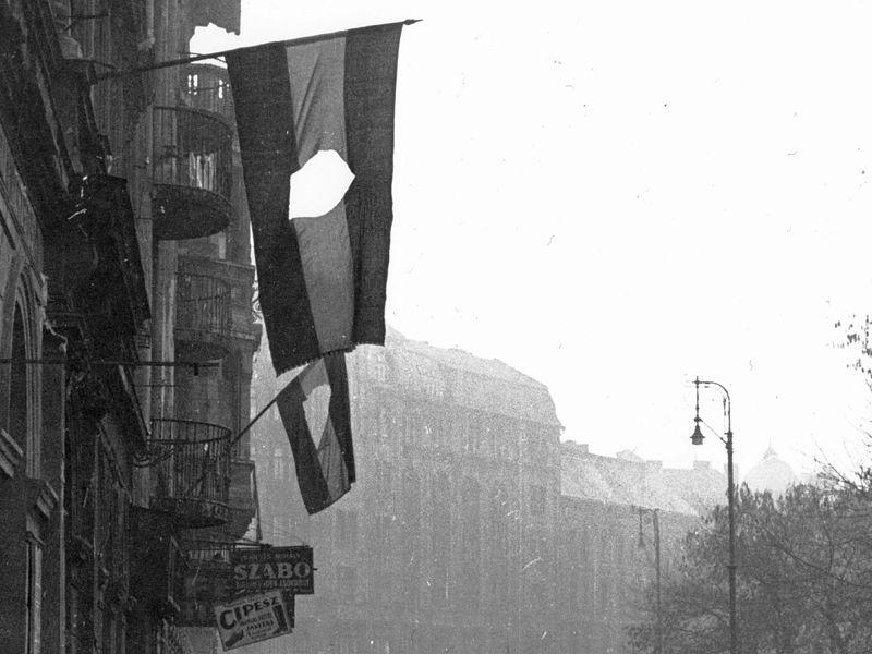 Quốc kỳ của nước Hung cộng sản bị cắt phần quốc huy trong cuộc cách mạng 1848 - Ảnh tư liệu