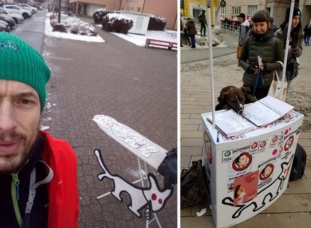 Đảng Chó Hai Đuôi vận động xin chữ ký của cử tri - Ảnh: Facebook