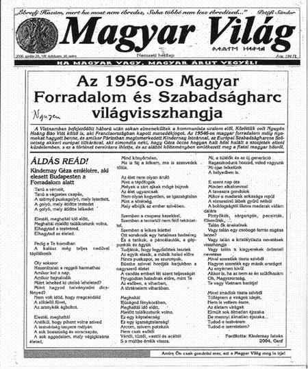 """Tuần báo """"Magyar Világ"""", số ra ngày 20-4-2006"""