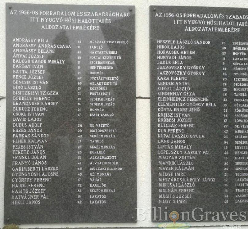 Cái tên Kindernay Géza trong số những anh hùng liệt sĩ và nạn nhân của cuộc cách mạng 1956 tại nghĩa trang Pestszenterzsébet (Quận 20, Budapest)