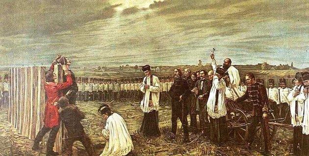 Những người anh hùng khi lên đoạn đầu đài - Họa phẩm của Thorma János