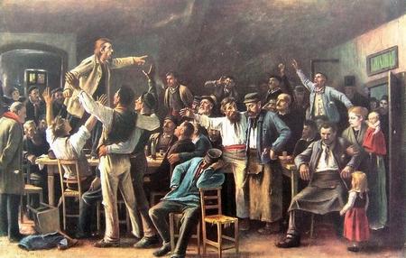 """Họa phẩm """"Đình công"""" (1895) của danh họa Munkácsy Mihály"""
