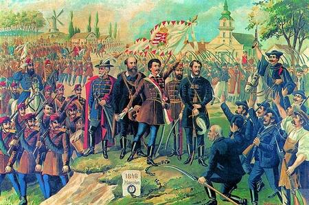 Petőfi Sándor (giữa) cùng các đồng sự trong những ngày rực lửa của cuộc cách mạng 1848 - Tranh cổ