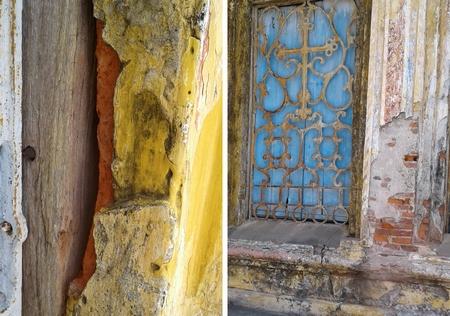 """Các mảng tường bong tróc để lộ ra các viên gạch bị """"lại gạch"""" mủn ra thấy rõ"""