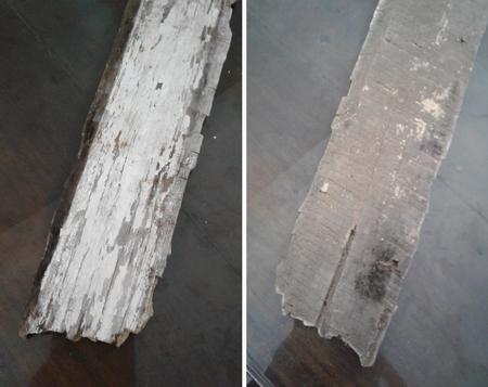 Một miếng gỗ xoan gãy ra từ phần ghép mái vòm giờ mềm mủn đến mức có thể bấm ngón tay vào được