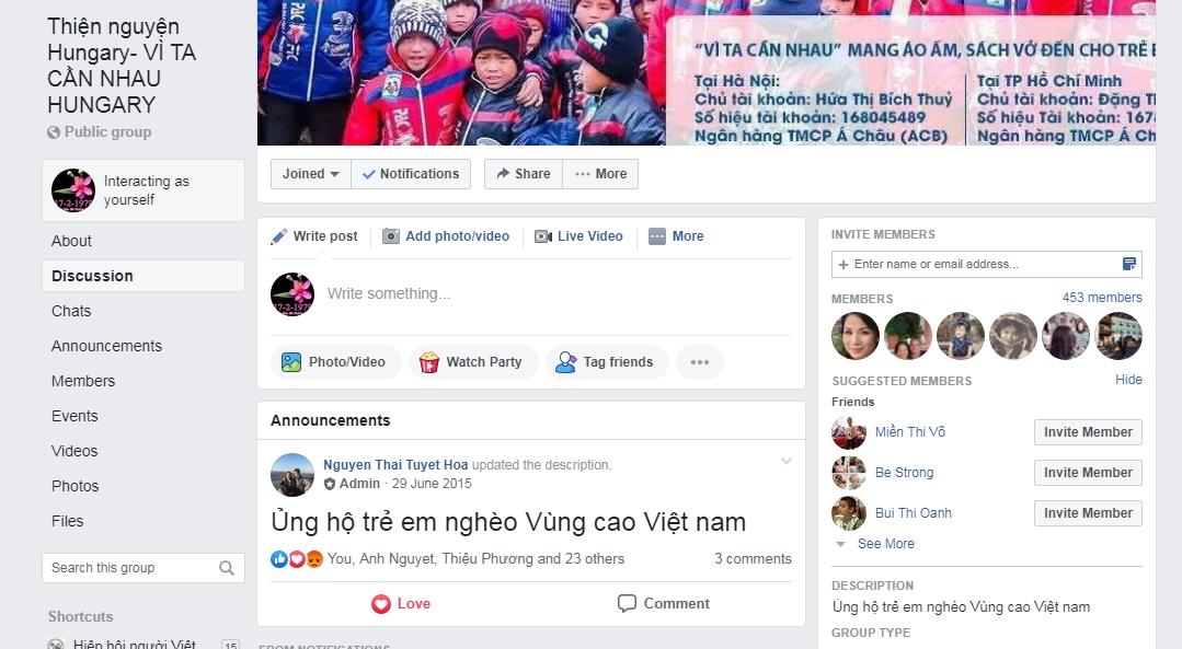 """Diễn đàn của nhóm thiện nguyện """"Vì ta cần nhau"""" tại Hungary trên mạng Facebook, với status mở đầu của chị Tuyết Hoa từ năm 2015 - Ảnh chụp màn hình"""