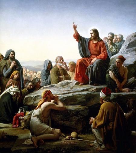 """""""Bài giảng trên núi"""" với cách thể hiện của họa sĩ Carl Bloch (1834-1890). """"Kinh Lạy Cha"""" là một phần của bài giảng này"""