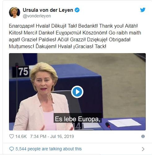 Cám ơn sự ủng hộ sau khoảnh khắc được bầu làm Chủ tịch Ủy ban Châu Âu