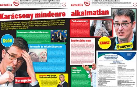 """""""Lokál"""" dành cả 3 trang lớn để bêu xấu - với những lời lẽ tệ hại nhất - ứng viên của phe đối lập, ông Karácsony Gergely, cho rằng ông """"bất tài về mọi mặt"""" (số báo này ra trước ngày bầu cử 2 hôm)"""