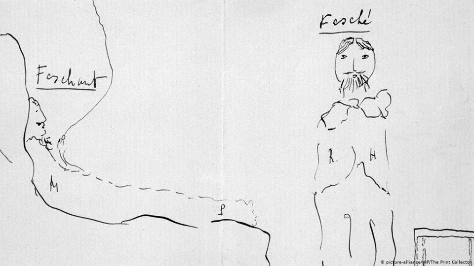 Tự họa của Proust (bên phải là một người bạn trai của ông)