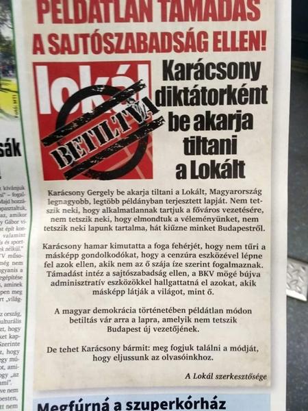 """Ban Biên tập """"Lokál"""" cho rằng họ bị """"trục xuất"""" khỏi Budapest vì đã nói lên ý kiến của họ"""