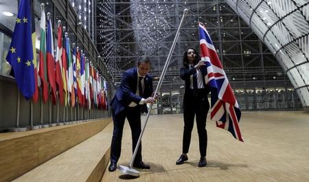 Quốc kỳ Vương quốc Anh được tháo dỡ khỏi trụ sở của Hội đồng Châu Âu tại Brussels. Anh Quốc gia nhập Cộng đồng Châu Âu, tổ chức tiền thâu của Liên Âu ngày 1-1-1973, cùng Đan Mạch và Ireland - Ảnh: Sky News