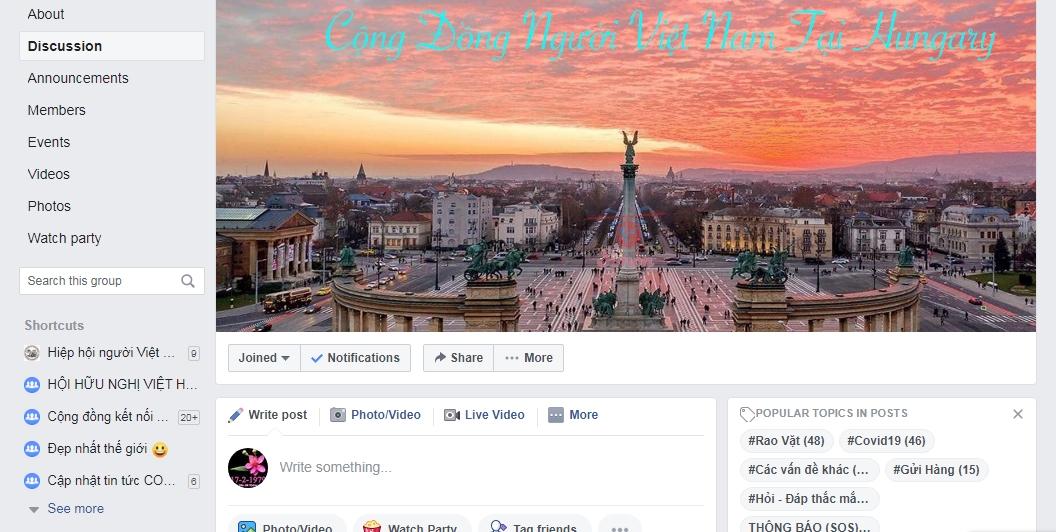 """Diễn đàn """"Cộng Đồng Người Việt Nam Tại Hungary"""" - Ảnh chụp màn hình"""