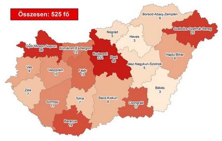 """""""Bản đồ lây nhiễm"""" Covid-19 trên toàn nước Hung (cho tới sáng 1-4-2020)"""