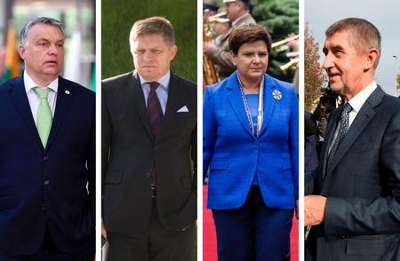 Các lãnh đạo nhóm Visegrád 4 (từ trái sang): Orbán Viktor, Robert Fico, Beata Szydło và Andrej Babiš - Ảnh: politico.eu