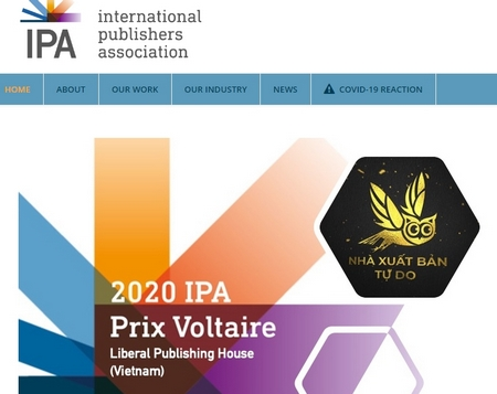 Giới thiệu về Giải thưởng Prix Voltaire năm 2020 được trao cho NXB Tự do trên website của IPA - Ảnh chụp màn hình
