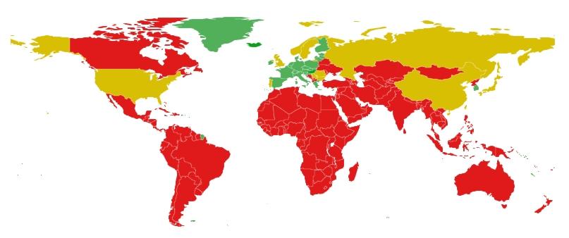 """""""Bảng màu"""" được Hungary áp dụng trên bản đồ thế giới"""
