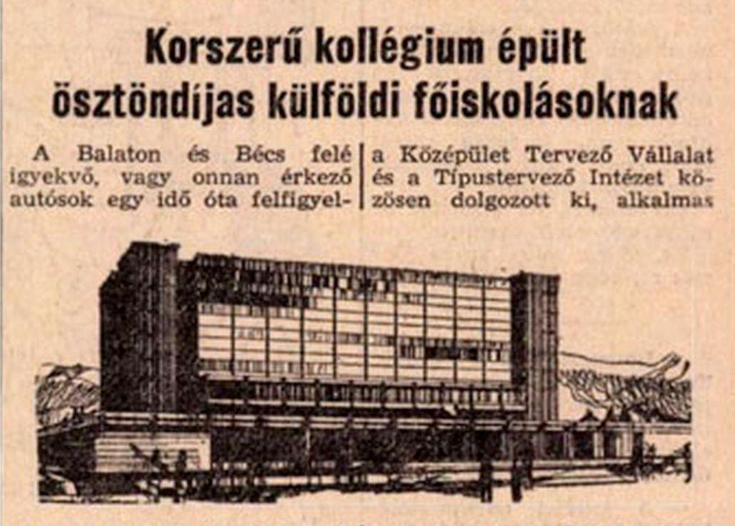 """Tin về ký túc xá trên báo chí đương thời: nhật báo """"Dân tộc Hungary"""" (Magyar Nemzet) số ra ngày 13/10/1968"""